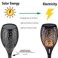 مصباح للطاقة الشمسية بقيادة الشعلة أضواء ماء الخفقان الشعلة الخفيفة في الهواء الطلق حديقة الحديقة أضواء IP65 مصباح للطاقة الشمسية مصباح عطلة الزخرفية