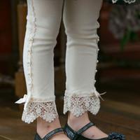 Babykleidung Frühling Herbst Kinder Hosen Leggings Boutique Mädchen Spitze Leggings mit Perle Dekoration Mädchen Bogen Röhrenhose 3 Farben