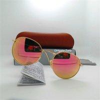 최고 품질의 유리 렌즈 클래식 남성 여성 선글라스 UV400 금속 프레임 조종사 안경 51mm 라운드 빈티지 미러 안경 갈색 상자 케이스