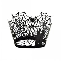 Spiderweb Laser Cut Papier Kuchen Cupcake Wrapper Liner Cases Backen Cup Case Hochzeit Geburtstag Party Decor (schwarz)