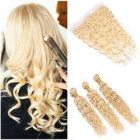 Water Wave #613 Blonde Virgin Hair Weft Extensions with Fron...