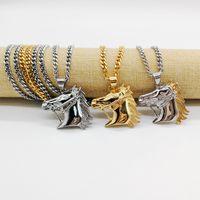 Collar de hip hop collar de cabeza de caballo de acero inoxidable 316 collar de un pony club accesorios de cadena de baile Gargantilla collar CAGF0078