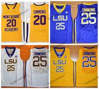 망 빈티지 벤 Simmons 20 Montverde Academy Eagles 고등학교 농구 유니폼 저렴한 LSU Tigers Ben Simmons # 25 대학 스티치 셔츠