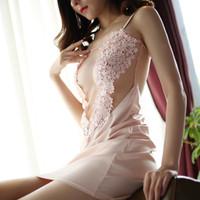 Qweek kadın nightgowns seksi kıyafeti dantel gecelik ipek pijama gece elbise seksi bayanlar lingerie ev tekstili saten sleepdress s1011