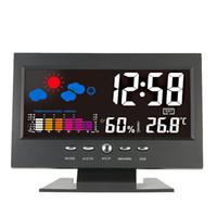 Freeshipping Digital Thermometer Hygrometer Weerstation Wekker Temperatuur Gauge Kleurrijke LCD-kalender VioCE-geactiveerde achtergrondverlichting