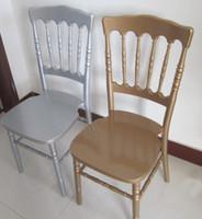 Fabrika düşük fiyat ahşap altın / gümüş / beyaz napoleon sandalye ziyafet için kullanılan