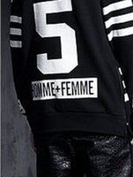 HOMME FEMME N 5 Letter Print High Street Hoodies Striped Sid...