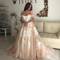 2018 Off Shoulder Evening Dresses Champagne Sleeves Prom Gowns With White Lace Applique A-Line Sweep Train Lace-Up Custom Made Party Gowns