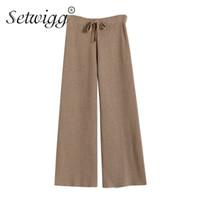 SETWIGG Sonbahar Vetical Çizgili Yün Geniş Bacak Kaburga Knied Pantolon Elastik Bel Beraberlik Dize Casual Gevşek Örgü Ayak Bileği Uzunluğu Pantolon