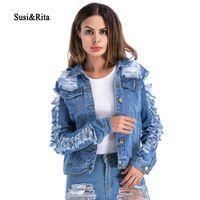 SusiRita 2018 Ripped Denim Jacket Donna Autunno Manica lunga Cappotti  allentati Casual donna Streetwear Cappotti Inverno c87a0a12960