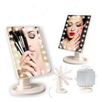 Espejo de maquillaje de pantalla táctil LED Espejos compactos profesionales con 16/22 luces LED Luminancia Ajustable 360 Rotación J1430