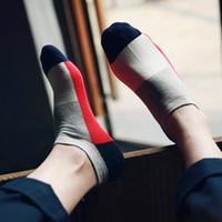 mode hommes occasionnels cheville chaussettes style été messieurs couleur couleur géométrique hommes peignés de haute qualité 100% coton coloré