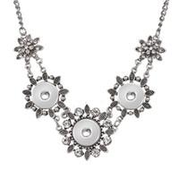Jaynalee Mode 3 Knöpfe Blume Ingwer Snaps Button Halskette Schmuck Fit 18mm oder 20mm Snaps Für Frauen Männer Geschenk GJN8002