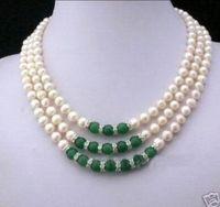 3 rangs 7-8MM collier de perles Akoya blanc et pierre verte