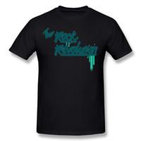 Transporte da gota Homens Tecido De Algodão Rocha Revolução Verde Tee-Shirt Dos Homens O Pescoço Azul de Manga Curta T Camisas Tamanho Grande Clássico Tee-Shirt