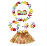 6 pçs / set havaiano decoração pétala tropical colares festa de praia flor guirlandas vestido de grinalda saia de grama terno partido decoração