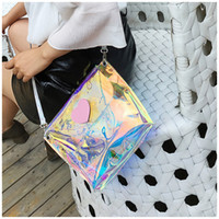 Holographic Handbags For Children Rainbow Laser Messenger Ba...