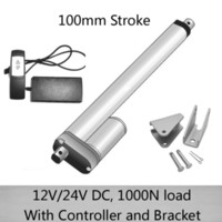 DC 24V 100mm curso atuador linear com 1 para 1 controle remoto e suportes de montagem 1000N / 100kgs de carga 10mm / s velocidade à prova d 'água