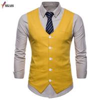 2018 رجال العلامة التجارية الجديدة الكلاسيكية الأعمال الرسمي يتأهل اللباس سترة بدلة أزياء الزفاف حزب سهرة صدرية حجم كبير M-4XL