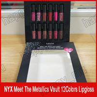 2018 En Yeni NYX Lipgloss karşılamak metalik tonoz yumuşak mat dudak kremi dudak seti 12pcs / set ücretsiz gönderim