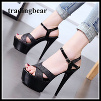 16cm Super high heels platform shoes glitter black cross str...