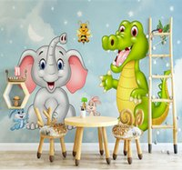 Custom Mural Wallpaper 3D HD Cartoon Elephant Dinosaur Child...