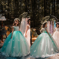 2019 New Design Mint Green Girls Pageant Dresses Ball Gown L...