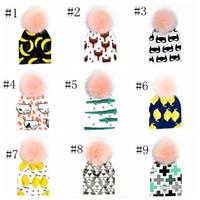 pom pom beanie шляпа малыша шапочки дети очищенный хлопок шляпы дети мода мультфильм шапки INS fox \ panda тигр шляпы печатных детские шапки X080