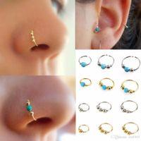 3 Pçs / set Moda Retro Rodada Beads Nariz Anel Narina Hoop Body Piercing Jóias anel de nariz falso do vintage Faux Piercing Jóia Do Corpo