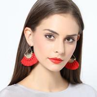 Europäische und amerikanische Mode Top-Stil Fan Quaste Ohrringe High-End-Frau Böhmen Wind Ohrringe