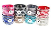 Style ethnique Snap Button Charm bracelets Large bracelet en cristal de cuir 18MM Interchangeable Ginger Snap Bracelet Pour les femmes bijoux DIY