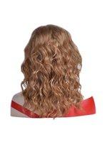 2018 Parrucca Castano Corti onda di acqua alta di vendita diretta della nuova delle donne di temperatura di calore sintetica resistente dei capelli della fibra Rose netto parrucche umane