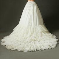 عالية الجودة العاج قطار الظهر ل فستان الزفاف الزفاف مرونة الخصر التنورة الداخلية الكشكشة كاتدرائية ذيل طويل ثوب التبعي حرية الملاحة