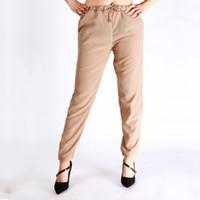Kadınlar ucuz harlan pantolon şifon elastik bel rahat bayanlar kızlar için gevşek kemer yaz katı pantolon artı boyutu XXL