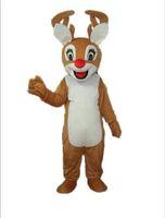 Kafa içinde bir mini fan ile Noel kırmızı burun Ren geyiği geyik maskot kostümü yetişkin giymek için maskot kostümü