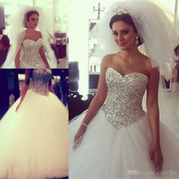 Sparkling Ball Gown Wedding Dresses Puffy Major Beads Crysta...