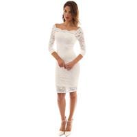 Abito Donna Design Moda Slash collo primavera dei vestiti da autunno della perla del merletto Embelished Bianco partito elegante di abiti da cocktail