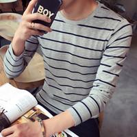 Erkekler Şerit T Gömlek Yeni Moda Rahat Uzun Kollu T Gömlek erkekler Sıcak Yüksek Kalite Slim Fit Pamuk Tişört Tees Tops Asya Boyutu 4xl