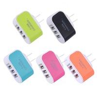 3 USB 벽 충전기 LED 여행 어댑터 5V 3.1A 트리플 포트 충전기 홈 미국 EU 플러그 삼성 아이폰