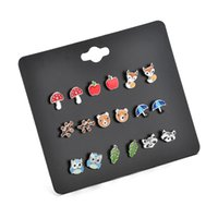 9 pares de fruta de placa cute little animal stud combinação conjuntos Brincos