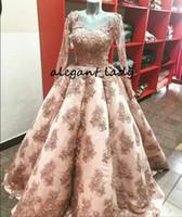 Blush cor-de-rosa saia inchado noite vestidos formais com manga longa 2018 imagem real v-pescoço full frisado laço applique princesa vestido de baile
