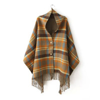 Women Plaid Tartan Scarf Fall Winter New Tassels Button Down...