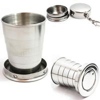 75ML 스테인레스 스틸 접이식 여행 접는 컵 캠프 키 체인 개폐식 텔레스코픽 캠핑 컵 크리 에이 티브 머그컵 용품