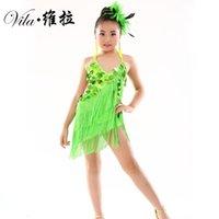 Kids Sequins Escenario Borlas Competencia Latin Dance Dress Girls Gimnasia Partido de práctica Vestido de baile Dancewear de la etapa trajes