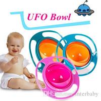 Tigela do bebê Alimentando Pratos 360 Rotate Universal Gyro À Prova de Saliva Tigela Talheres UFO Top Bowl Pratos de Alta Qualidade Crianças Bonitos Brinquedos YFA189
