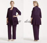 Plus Size Glitter Print Giacca e pantaloni Set 2018 Chiffon viola personalizzato Make Mother of the Bride Groom Pant Suit Cheap
