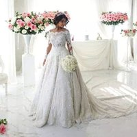 Vintage Full Lace Appliques Vestidos de casamento Glamorous Beaded Off Shoulder Long Sleeves Lace Wedding Dress 2018 Elegant Bridal Wedding Gown