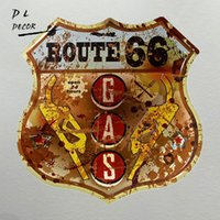 DL- Vintage Retro Style Route 66 Gas station Metal Signs Bar ...