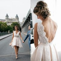 Hot Sale High Low Short Wedding Dresses 2019 V Neck Lace Bac...