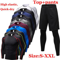 Fitness Tight Sport Suit Men Long Sleeve Shirt + Pant Men&#39...